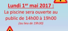 Lundi 1er Mai Piscine Ouverte !!!