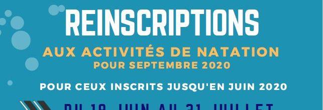 NATATION REINSCRIPTIONS et INSCRIPTIONS SEPTEMBRE 2020